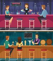 Cocktailbar Cartoon horizontale banners vector