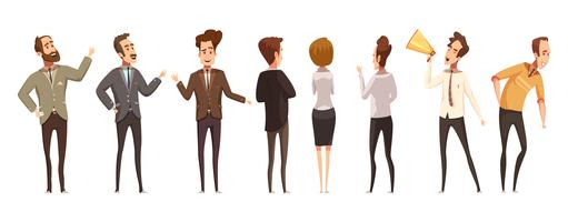 Mensen en online vergadering Icons Set