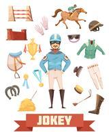 Jockey Munitie Decoratieve Icons Set