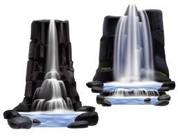 Watervallen Realistische samenstelling Set vector