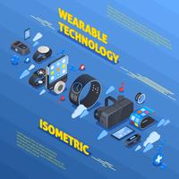 Wearable technologie isometrische samenstelling vector
