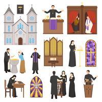 Religie kathedraal interieur instellen vector