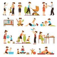Babysitter Flat Set van decoratieve gekleurde pictogrammen vector