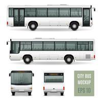 Stadsbus Realistisch Adverterend Malplaatje vector