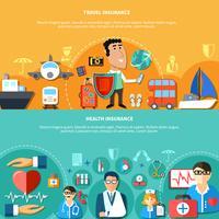 Vakantie en ziekteverzekering horizontale banners vector