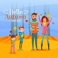Familie en herfst seizoen illustratie vector