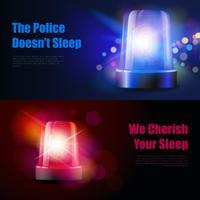 Flasher Siren Lichteffect-banners vector