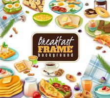 Ontbijtkaderachtergrond vector