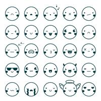 emoji emoticons zwarte set vector