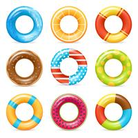 Realistische kleurrijke leven ringen instellen