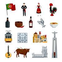 Portugal pictogrammen platte set vector