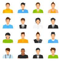 Man Avatar Icons Set vector