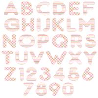 roze oranje alfabet