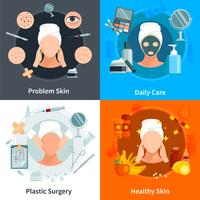 skin care flat 2x2 ontwerpconcept vector