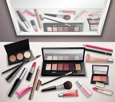Make-up werkruimte bovenaanzicht realistische afbeelding vector