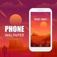 Woestijnconcept voor telefoon Walpaper vector