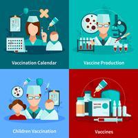 Vaccinatie Flat 2x2 Design Concept vector
