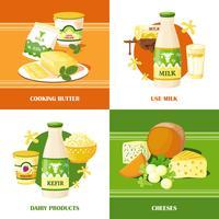 Melk en kaas 2x2 ontwerpconcept vector