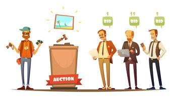 Veilingdeelnemers Retro Cartoon Personen Set vector