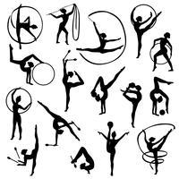 Zwarte gymnastiek vrouwelijke silhouetten vector