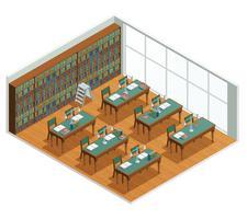 Boekhandel bibliotheek isometrische interieur vector