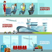 Horizontale Banners van de internationale luchthaven vector