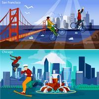 Amerikaanse steden compositieset vector