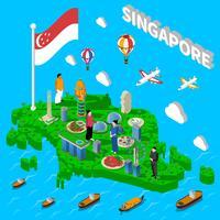 Singapore kaart toeristische symbolen isometrische Poster vector