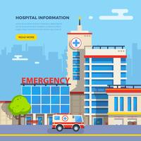 Ziekenhuis Flat Illustratie vector