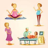 Zwangerschap Retro Cartoon 4 pictogrammen instellen vector