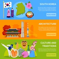 . Zuid-Korea Culure Flat Banners Ontwerp vector