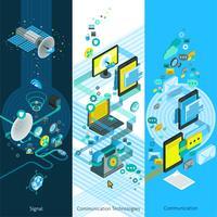 Telecommunicatie isometrische verticale banners vector
