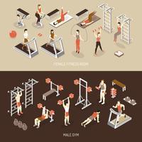 Fitness isometrische horizontale banners