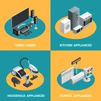 Huishoudelijke apparaten 4 isometrisch pictogrammen plein vector