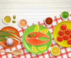 Plat lag koken tafellaken hout achtergrond vector