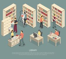 Documenten Bibliotheekarchief Interieur isometrische illustratie