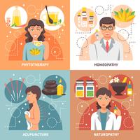 Alternative Medicine 2x2 Design Concept vector