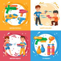 Waterpistolen Concept Icons Set