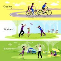 Actieve vrije tijd Mensen horizontale banners vector