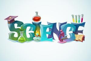 Wetenschapsaffiche met decoratieve inscriptie