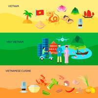 Vietnamese cultuur horizontale Flat Banners Set vector