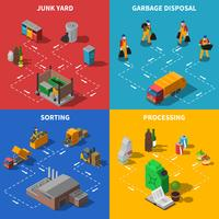 Vuilnis Recycling Isometrische Concept Icons Set vector