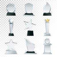 Glazen trofeeën collectie transparante realistische afbeelding
