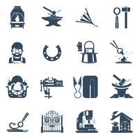 Blacksmith Black Icons Set