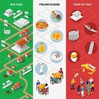 Italiaanse culturele isometrische nationale vlag banners vector