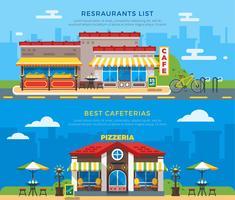 Beste cafetaria's en restaurants geven platte banners weer vector