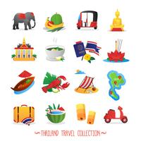 Thailand reizen vlakke pictogrammen collectie vector