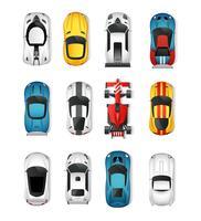 Bovenaanzichtenset sportwagens vector