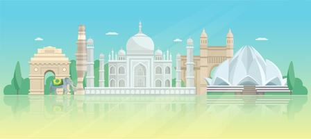 India Architectuur Skyline Poster vector