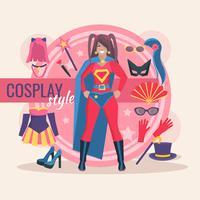 Cosplay karakterpakket voor meisje vector